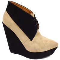 View Item LADIES BLACK BEIGE SUEDE EFFECT LACE-UP PLATFORM WEDGE ANKLE BOOTS SIZES 3-8